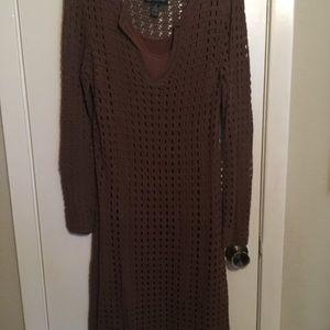 INC brown knit dress size M